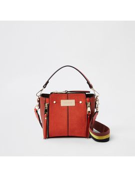 Orange Mini Zip Detail Bucket Crossbody Bag by River Island