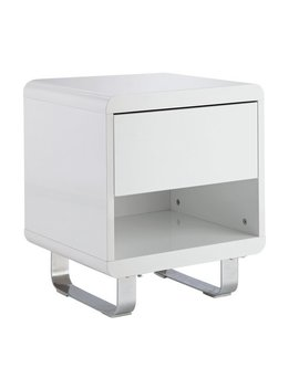 Hygena Sleigh 1 Drawer End Table   White Gloss by Argos