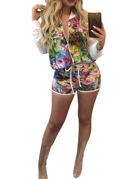 Women Tropical Floral Jacket + Shorts 2 Piece Set Suit African Dashiki Slim Fit by Playworld