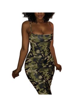 Vancol Women's Sexy Spaghetti Strap Printed Camouflage Bodycon Club Evening Party Cocktail Short Mini Dress Plus Size by Vancol