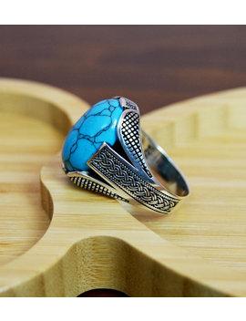 Mens Handmade Ring, Turkish Handmade Silver Men Ring, Ottoman Mens Ring, Turquoise Men Ring, Gift For Him, 925k Sterling Silver Ring by Istanbulsilverart