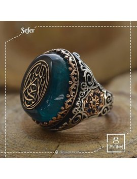 Mens Ring,Rings For Men,Mens Rings,Islamic Ring,Bague Homme Ottoman,Bague Homme,Osmanische Männer Ring,Silver Ring,Blue Stone Ring,Gift Ring by Old Style Jewelry
