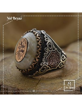 Mens Ring,Rings For Men,Mens Rings,Islamic Ring,Bague Homme Ottoman,Bague Homme,Osmanische Männer Ring, Silver Ring,White Stone Ring by Old Style Jewelry