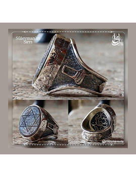 Seal Of Suleiman Ring,Suleiman The Magnificent Ring,Mevlevi Ring,Surah Ring,Verse Ring,Silver Ring,Mens Ring,Handmade Ring,Rings For Men by Old Style Jewelry