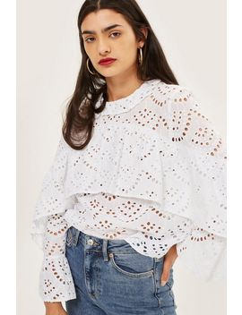 Broderie Ruffle Top by Topshop