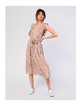 **Plunge Polka Dot Midi Dress By Glamorous by Topshop