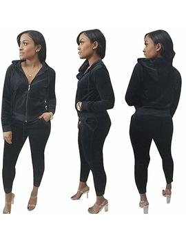 Halfword Womens Velour Hoodies And Pants Set 2 Piece Tracksuits Sweatsuits by Halfword