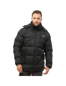 Trespass Mens Clip Padded Hooded Jacket Black by Mand M Direct
