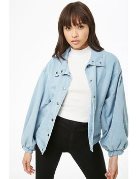 Denim Batwing Sleeve Jacket by Forever 21