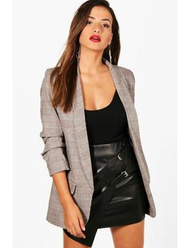 Check Ruched Sleeve Blazer Check Ruched Sleeve Blazer by Boohoo