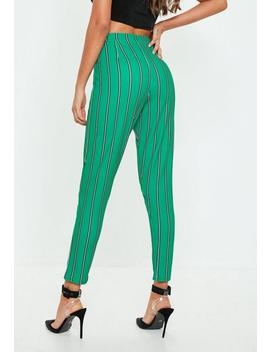 Green Stripe Cigarette Trousers by Missguided