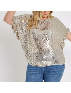 Plus Cream Embellished Frill Sleeve Top by River Island