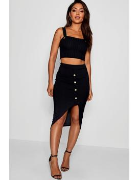 Rouched Ribbed Mock Horn Button Midi Skirt by Boohoo