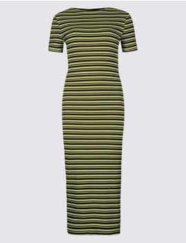 Cotton Rich Striped Bodycon Midi Dress by Marks & Spencer
