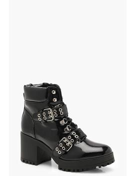 Patent Double Strap Lace Up Chunky Hiker Boots by Boohoo