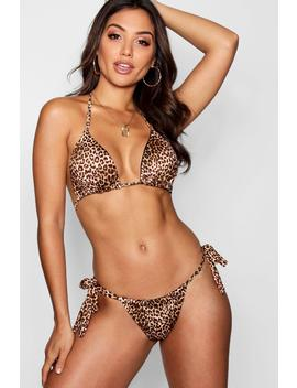 Leopard Triangle Bikini Set by Boohoo