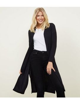 Black Fine Knit Rib Longline Cardigan by New Look