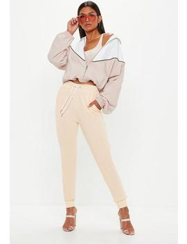 Stone Loopback Zip Hem Detail Joggers by Missguided