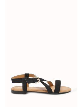 Faux Nubuck Cross Strap Sandals by Forever 21