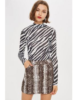 Zebra Print Long Sleeve Top by Topshop
