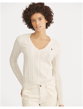 Cable Knit Wool V Neck Jumper by Ralph Lauren
