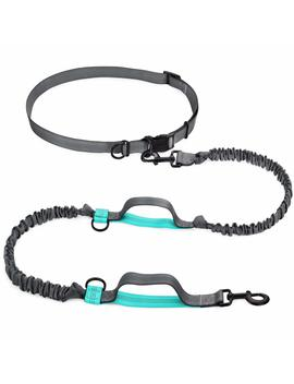 Shine Hai Hands Free Waist Dog Leash With Dual Bungees, Free Control For Up To 150 Lbs Dogs, Durable Dual Handle Bungee Leash With Adjustable Waist Belt   For Running, Jogging Or Walking by Shine Hai