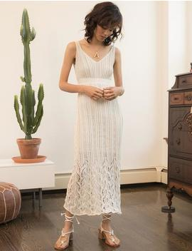 Ivory Knit Crochet Dress by Pixie Market