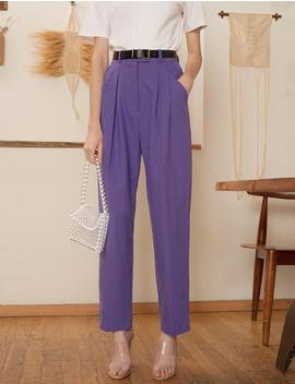 Purple High Waist Pants by Pixie Market