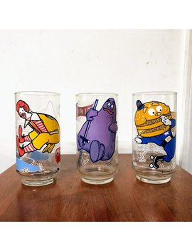 Vintage Trio Of Mcdonalds Action Series 1977 Glasses by Over The Years Finds