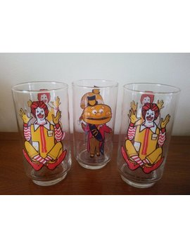 Vintage Set Of Three Glasses   1981 Mc Donald's Glasses   Ronald Mc Donald Glasses   Mayor Mc Cheese Glass by Judym2