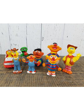 Vintage Lot Of 8 Sesame Street Muppets Figures Jim Henson Animated Tv Show Cartoon Plastic Figurines Big Bird Ernie Oscar The Grouch by Bens Big Barn