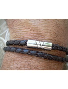 Mens Bracelets Leather, Leather Bracelet, Mens Bracelet, Double Wrap Leather Bracelet, Brown Braid,  Stainless Steel Magnetic Clasp, by Urban Survival Gear Usa