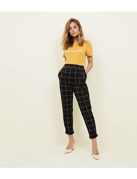 Petite Black Grid Check Trousers by New Look