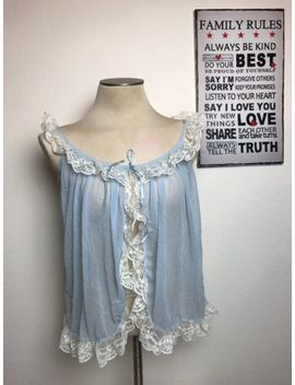 Vintage Women's Victoria's Secret Blue Sheer W/ Lace Cover Robe Shirt Sz M E89 by Victoria's Secret