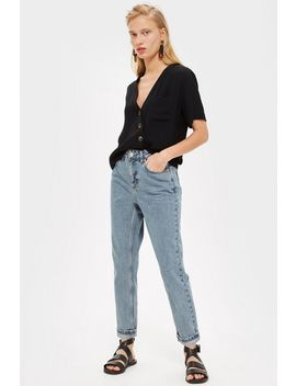Petite Grey Blue Mom Jeans by Topshop