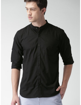 Highlander Black Slim Fit Casual Shirt by Highlander