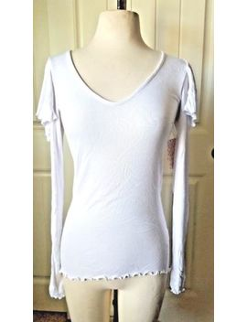 New! Free People Long Sleeve V Neck Ruffle Shoulder T Shirt,White, S/Xs by Free People