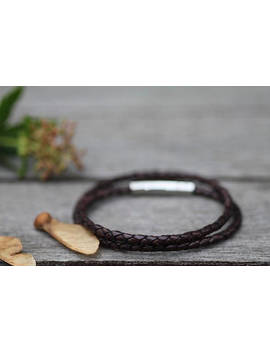 Mocha Brown Aston Leather Bracelet by Joulberry