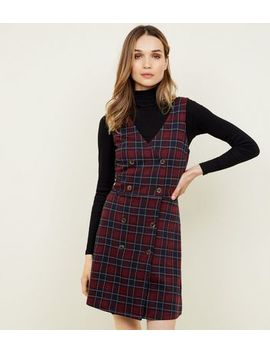 Red Check Double Breasted Pinafore Dress by New Look