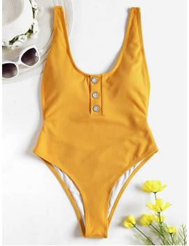 One Piece Ribbed Buttons High Cut Swimsuit   Golden Brown S by Zaful