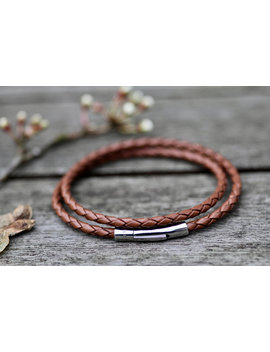 Tan Aston Leather Bracelet by Joulberry