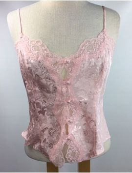 Victoria Secret Chemise Cami Lingerie Sz M Pink Brocade Lace Button Front Pin Up by Victoria's Secret