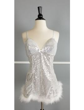 Passion Forever Faux Fur Embellished Silver Sequin Lingerie Wear Womens Medium by Passion Forever