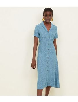 Blue Spot Print Button Through Midi Dress by New Look