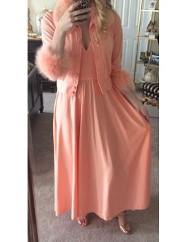 Lillie Rubin Vtg Peach Evening Dress & Jacket With Fur Trim   Collection 700 by Lillie Rubin