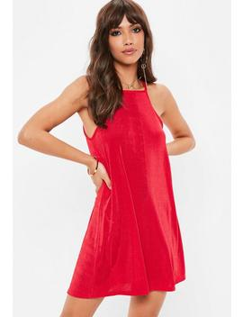 Red Racer Neck Swing Dress by Missguided