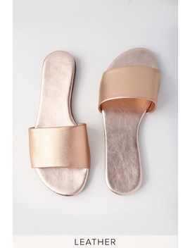 Tara Rose Gold Nappa Leather Slide Sandals by Lulu's