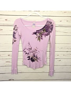 Lucky Brand Thermal Shirt Xs Floral Womens Vintage Pink 100 Percents Cotton Top Boho by Lucky Brand