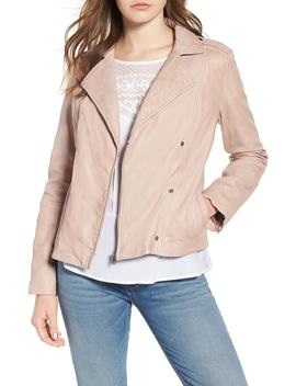 Feminine Leather Moto Jacket by Hinge