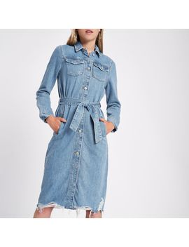 Denim Longline Tie Waist Shirt Dress by River Island